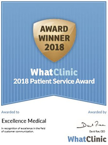 excellncemedicalaward 223x300 - EXCELLENCE MEDICAL RATED BEST FOR SERVICE BY WHATCLINIC